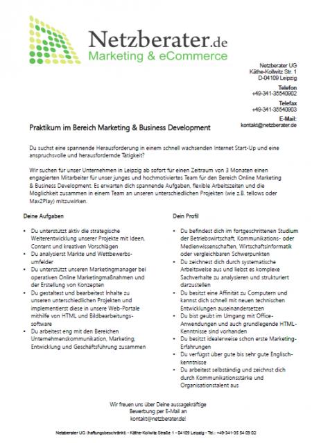 Praktikum im Bereich Marketing & Business Development