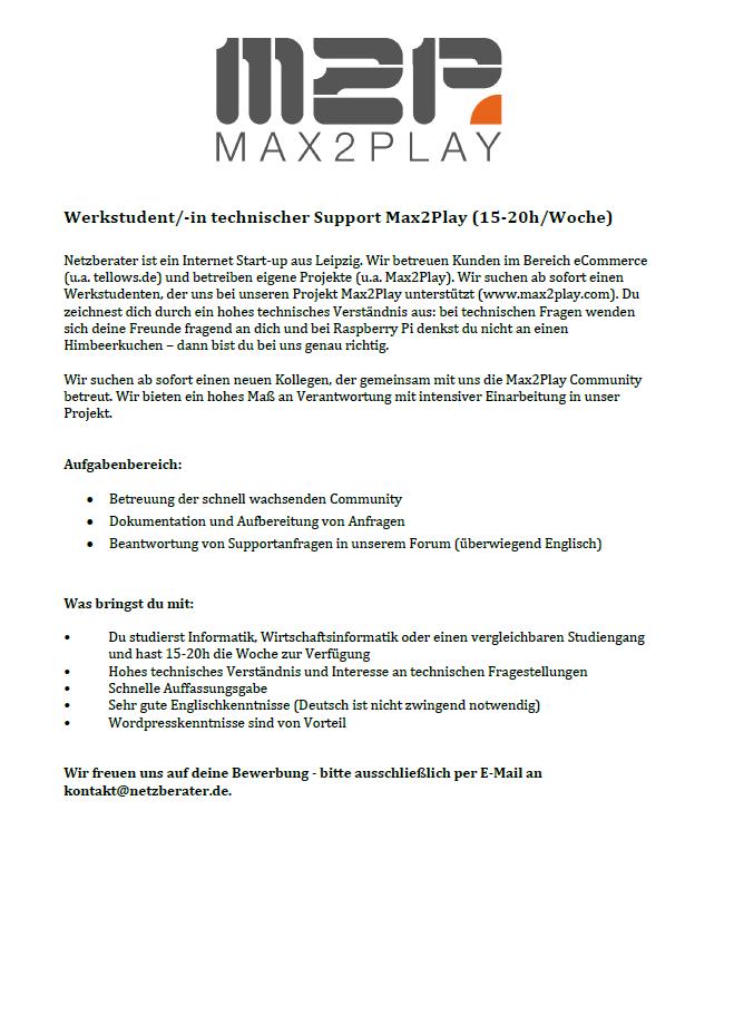 Werkstudent/-in technischer Support Max2Play (15-20h/Woche)